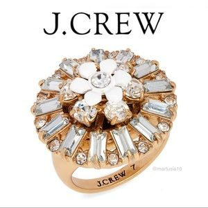 J. Crew Gold Flower Crystal Ring Size 6